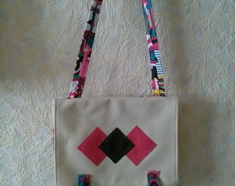 Faux leather and fabric shoulder bag