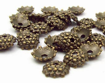 10 caps 9mm antique bronze color metal