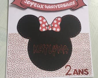 Disney Minnie red black birthday card