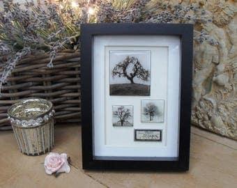COLD ENAMELLED TREES Framed Art, Inspirational Black Contemporary Box Frame, Handmade