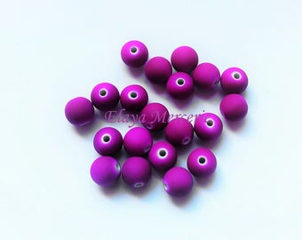 x 20 neon purple beads - 8mm