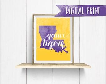 "Louisiana State ""Geaux Tigers"" watercolor print, Printable Wall Decor, Digital Print"