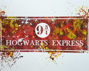 Hogwarts Express logo Original Painting Acrylic A4 size Harry Potter Art