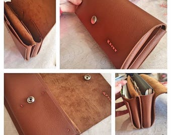 Faux leather wallet thick brown red and customizable