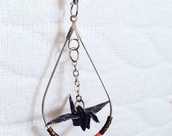 Origami Brown/Pink Silver earrings
