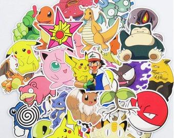 Pokemon Pack Stickers (x100) - Vinyl - Pikachu Sticker - Snorlax Sticker - Charmander Sticker - Meowth Sticker - Bulbasaur Sticker Pokeball