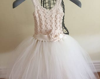 Cream baby girl dress - Flower girl tutu dress