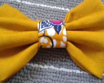 Bowtie fabric mustard yellow white orange wax Fuchsia heart