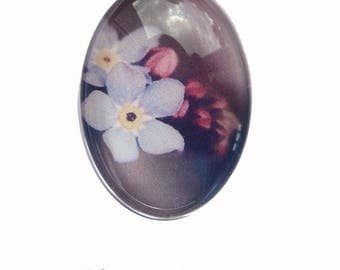 Oval cabochon 18 x 25 mm flower Parma violet forget-me-not Ref70