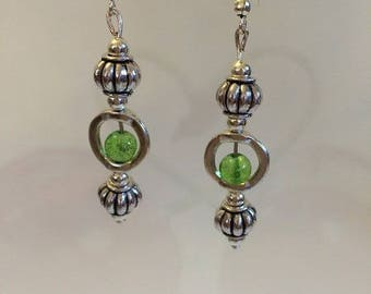 Silver earrings with Crackle glass beads Green
