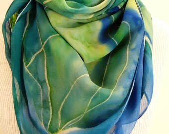 Silk Chiffon Silk Shawl Hand Painted Turquoise Blue Lime Handpainted  Scarf Green Chiffon Silk Scarf Gift For Her