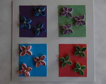 Handmade quilled card with colourful floral design