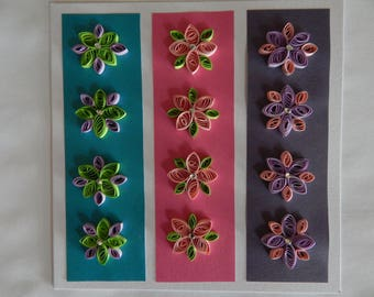 Handmade quilled card of flowers on vertical stripes