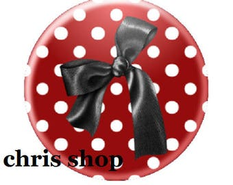 deep red, black bow cabochon 20mm