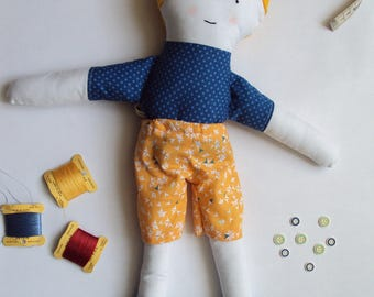 Doll * boy * fabric face embroidered, called Lucien