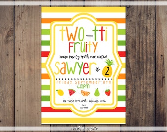 TWOTII FRUITY BIRTHDAY Digital Invitation, Tutti Fruity Birthday, Fruit Birthday Party, Tutti Fruity, Kids Birthday, Second Birthday, Two
