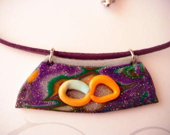 polymer clay and faux leather, purple, orange, green trapezoid necklace