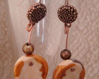 Earrings in polymer clay beige/copper/Brown, copper frame