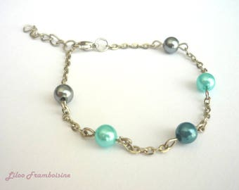 Blue grey beads and metal chain bracelet