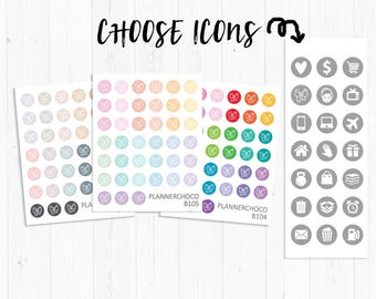 Circle icon stickers/planner sticker/planner stickers / ECLP /EC vertical weekly kit/multicolor basic functional/rainbow pastel neutral