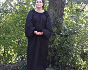 Black Chamise Cotton Dress with elastic neck and wrist for Medieval and Renaissance Dress