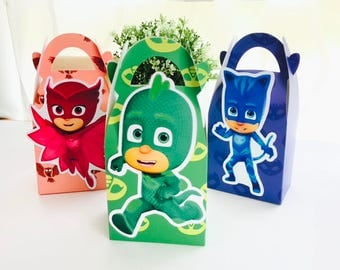 6x PJ Masks Candy Lolly Loot Party Lunch Box Bag. Party Supplies Banner Bunting Flag Deco Favour