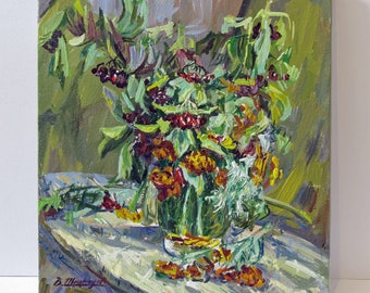 Guelder rose, marigolds, autumn flowers, still life, oily painting, flowers, flora