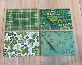 St. Patrick's Day theme lined envelopes with notecards
