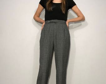 Vintage 1980s plaid trousers • 80s plaid pants • Small S • womens small • vintage pants • plaid •