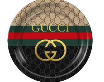 Gucci Inspired Black and Tan Custom Plates  Cups!!!!