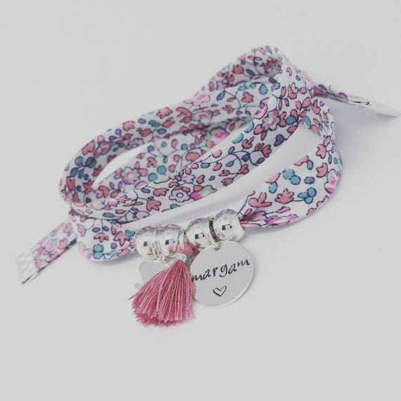 Bracelet personalized GriGri XL Liberty with custom engraving, little girl silver and tassel by Palilo