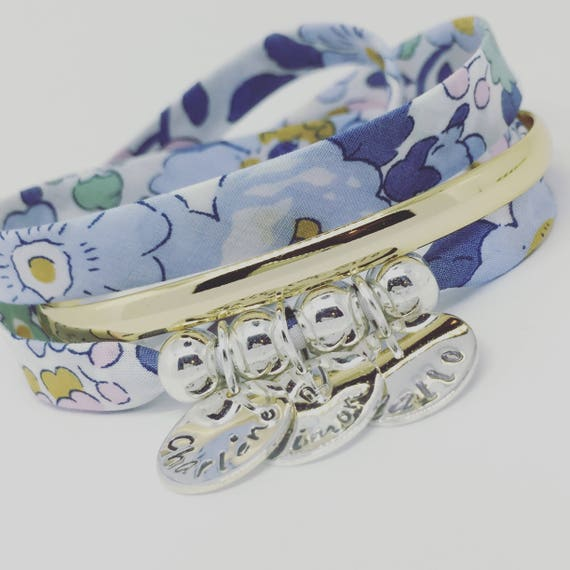 Personalized Bracelet - Bracelet GriGri XL BETSY Liberty DENIM with 3 prints to choose