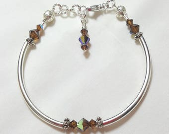 Smoky Topaz Crystal Bangle Style Bracelet