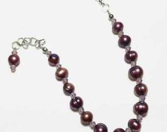 Mauve Freshwater Pearls Amethyst Crystal Beaded Bracelet