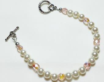 Blush Pink Pearls Pink Crystal AB Wedding Bridal Bracelet