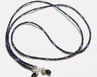 Multi Iris Lilac Crystal Beaded Eyeglass Chain
