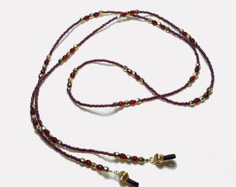 Rich Garnet Red Crystal Beaded Eyeglass Chain