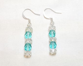 March Aquamarine Crystal Petite Dangle Earrings