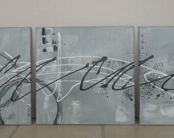 Gray modern triptych