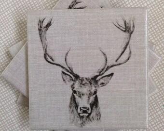 Handmade Set Of 4 Ceramic Coasters Stag Deer Head Drinks Mats Mugs Home Decor Housewarming Gift Christmas Present Shabby Chic Country