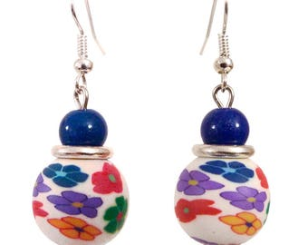 Earrings dangle polymer clay white and blue multicolor flowers