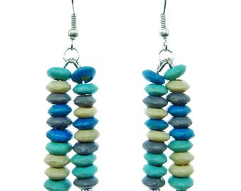 Dangling earrings light blue turquoise beige multicolor ultra wood beads