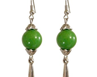 dangle drop earrings silver classic Apple green green stone bead
