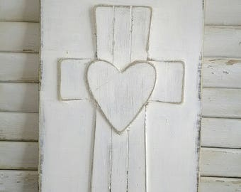 Wood Cross with Heart on Rustic and Distressed Wood Board in White