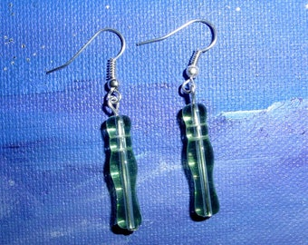 Earrings consisted of 2 glass tube beads