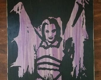 LILY Munster, TV, The Munsters, paint on wood