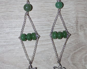 Dangle Silver earrings, aventurine beads, Hummingbird