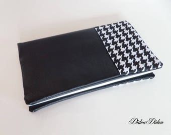 faux leather and black and white chicken feet pattern checkbook model woman