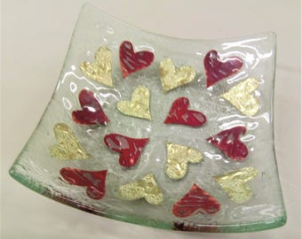 Handmade Glass Bowl with Red and Gold Hearts