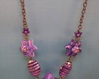 §57§ polymer necklace purple
